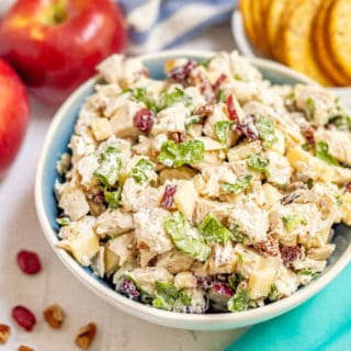A serving bowl full of harvest chicken salad with dried cranberries and apples