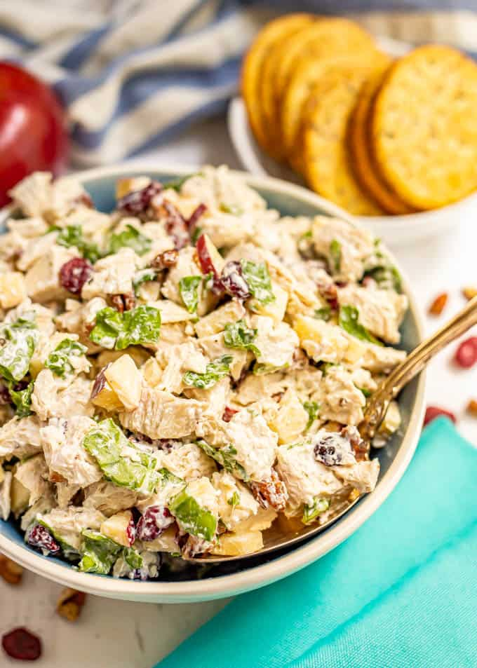 A bowl full of chicken salad with apples, pecans and cranberries with a spoonful being taken