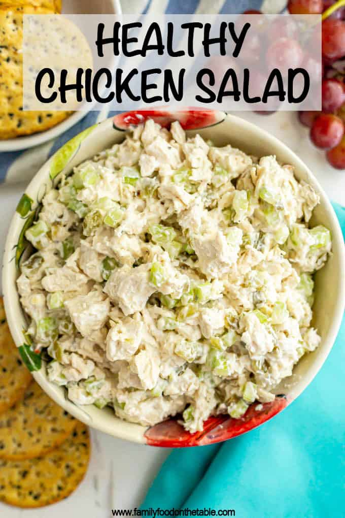 Healthy chicken salad is perfectly creamy with just the right seasonings and crunch. It's delicious as a sandwich, wrap or served with crackers or greens. #chickensalad #chickenrecipes #lunchrecipes #lunchtime
