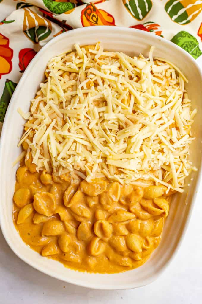 A creamy pumpkin and pasta mixture in a baking dish with shredded cheese on top, before baking