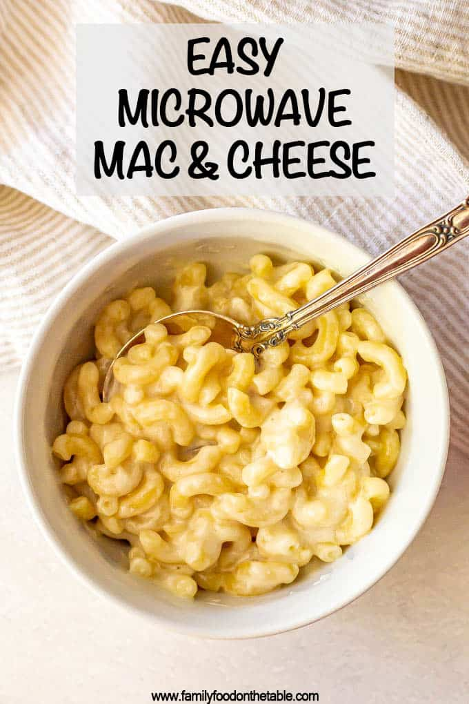 Microwave mac and cheese is so quick and easy to make, with just 3 ingredients and 5 minutes of cook time! It's deliciously cheesy, creamy and tender! #macandcheese #microwaverecipes #macaroniandcheese #pastarecipes #easyrecipes