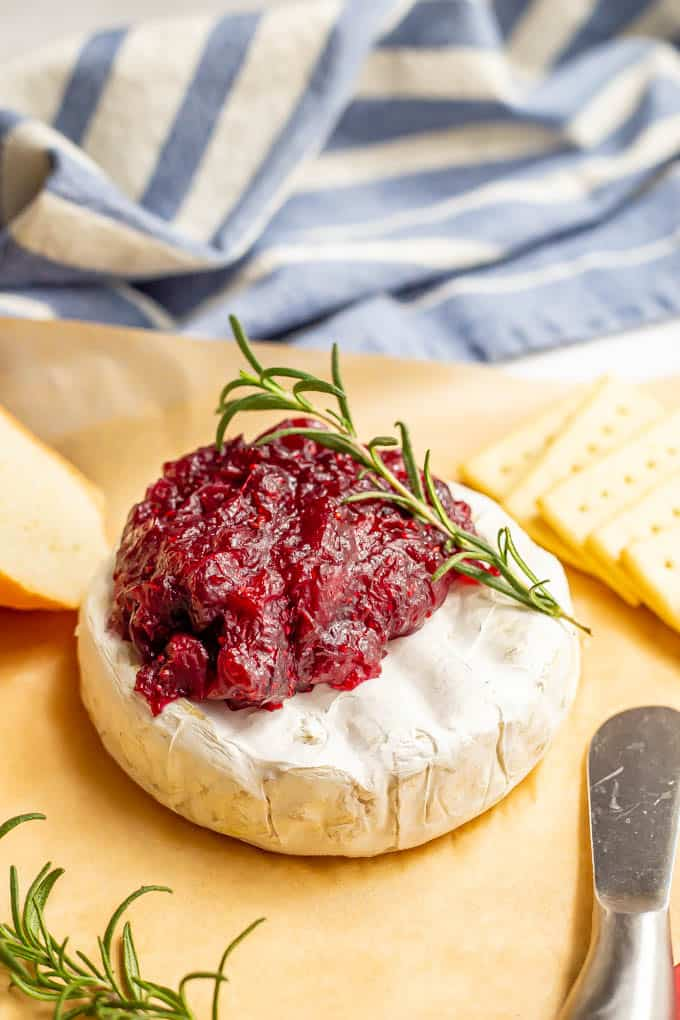 Holiday brie cheese with cranberry sauce and a sprig of fresh rosemary, ready to serve
