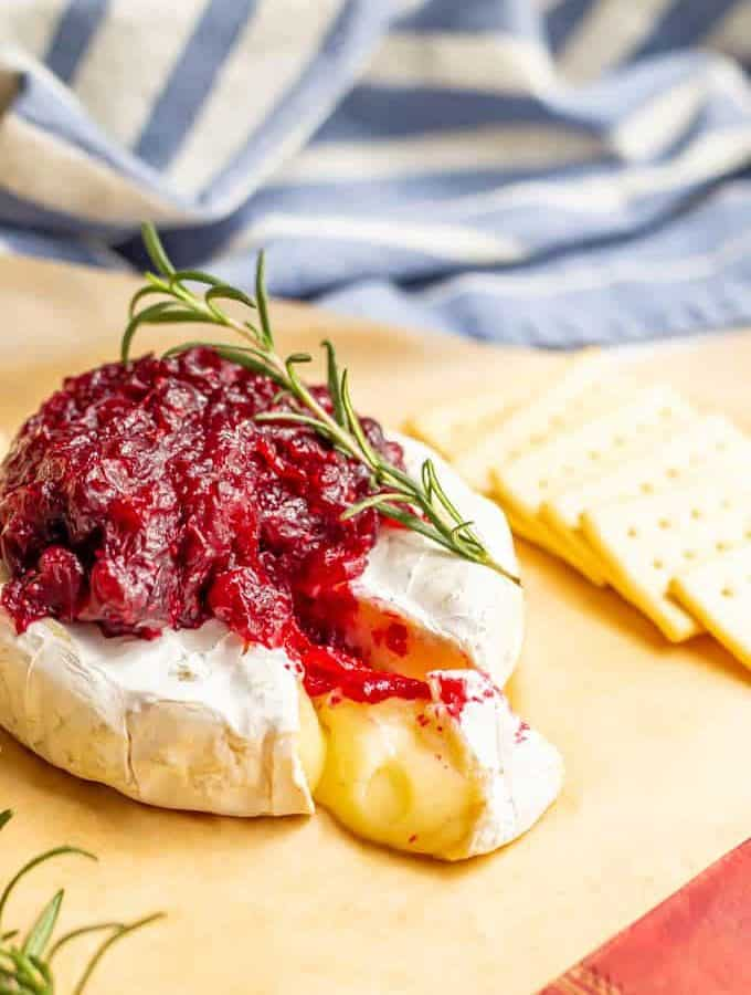 Melty brie cheese wheel with cranberry sauce on top and a rosemary sprig