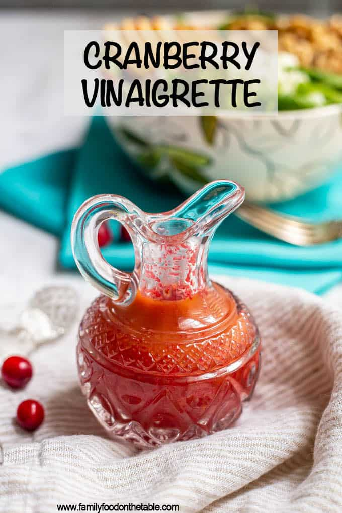 Cranberry vinaigrette is an easy, bright and bold salad dressing that's perfect for the holidays! And it's just a few ingredients and 5 minutes to make! #cranberry #cranberries #holidays #holidayfood #salads #saladlove