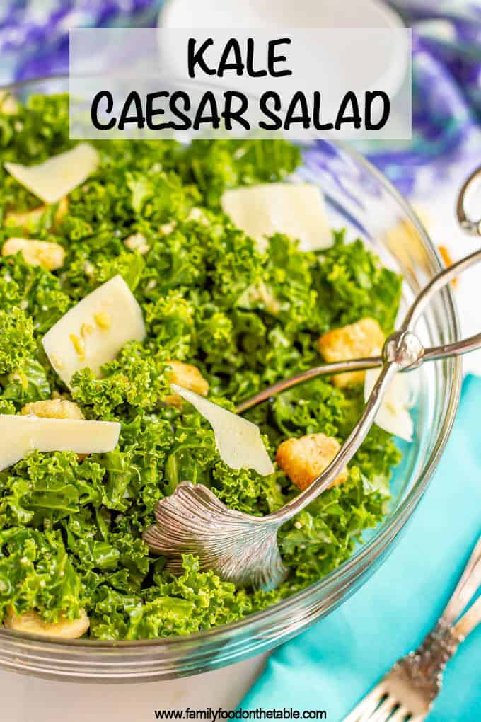 Kale Caesar salad is a twist on the classic with sliced kale leaves as the greens, plus fresh Parmesan and croutons and a creamy Caesar dressing. Great for a side salad or for some healthy meal prep! #kalesalad #Caesarsalad #salads #kalerecipes #sidesalad #kale