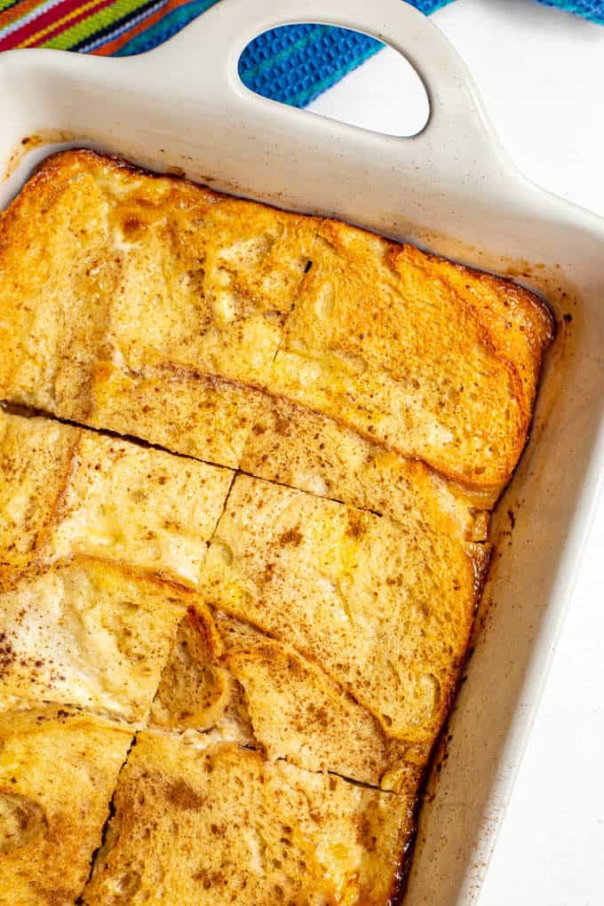 French toast in a casserole dish fresh out of the oven