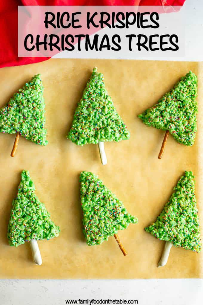 Rice Krispies Christmas trees are an easy, fun and festive holiday treat! These cute trees can be decorated in lots of ways and will be a hit with kids and adults alike! #ricekrispies #holidaytreats #holidaydesserts #Christmastreats #Christmasfood