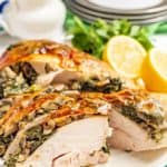 Spinach and mushroom stuffed turkey breast