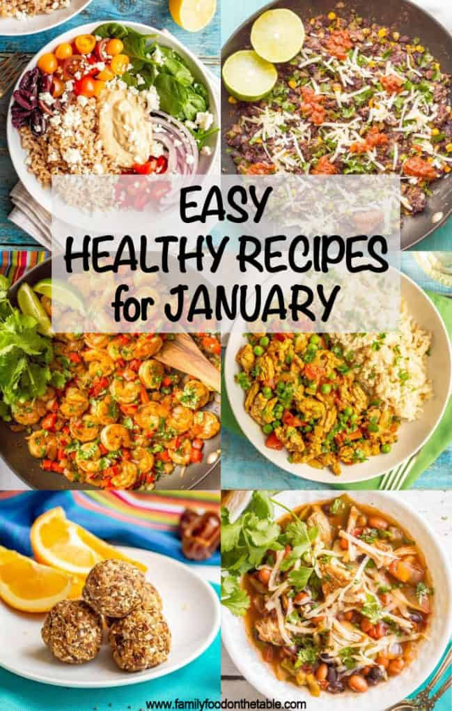 These easy, healthy recipes for January are sure to get your new year off to the right start! From salads to main dishes, vegetarian to meat-based, this has everything you need to stick to your healthy goals! #healthyeating #healthyrecipes #newyear #healthyeats