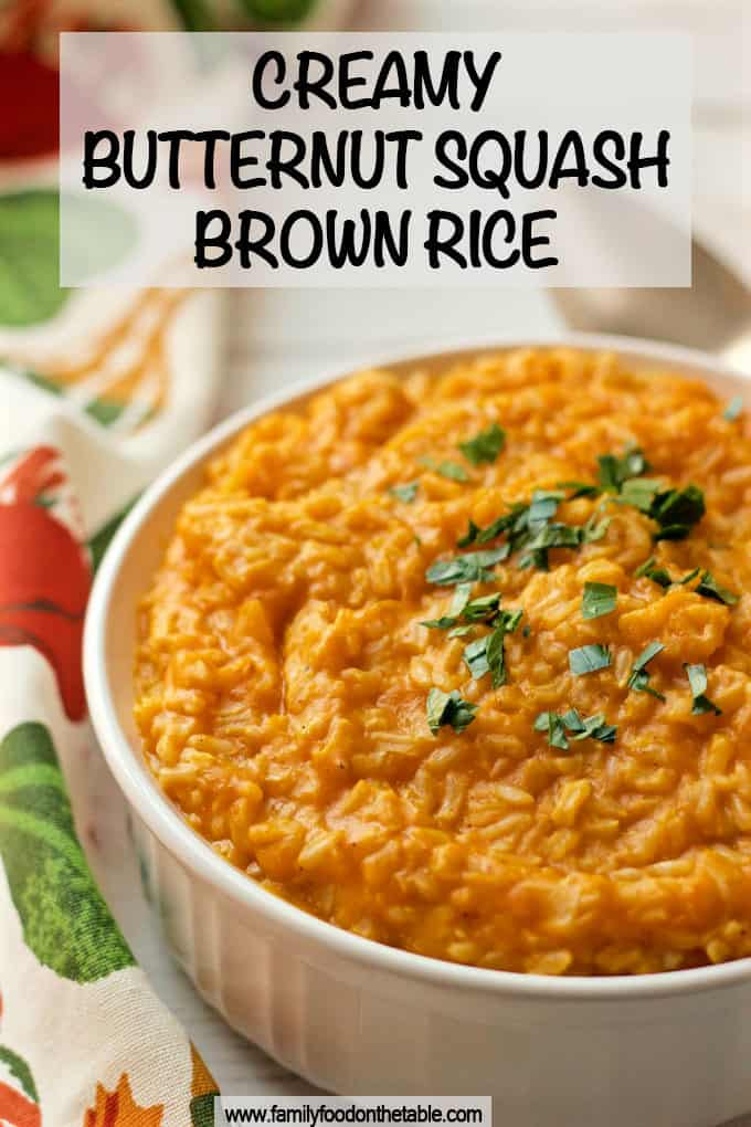 Creamy butternut squash brown rice makes for an easy, delicious side dish! Plus, 2 variations to try, one a little sweet, one a little savory. #butternutsquash #brownrice #ricerecipes #sidedish #vegetarian