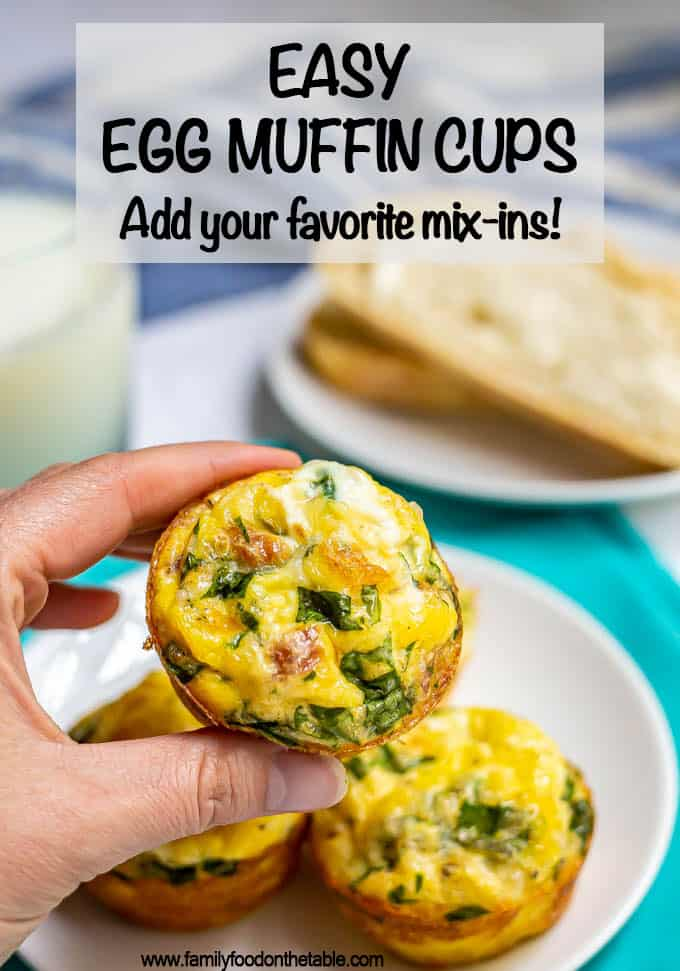 Breakfast egg muffins are loaded with bacon, spinach and cheese and baked in the oven for a delicious warm breakfast that's perfect for brunch or for meal prep. They freeze and reheat great and you can customize the add-ins! #eggmuffins #breakfast #mealprep #breakfastideas #eggs
