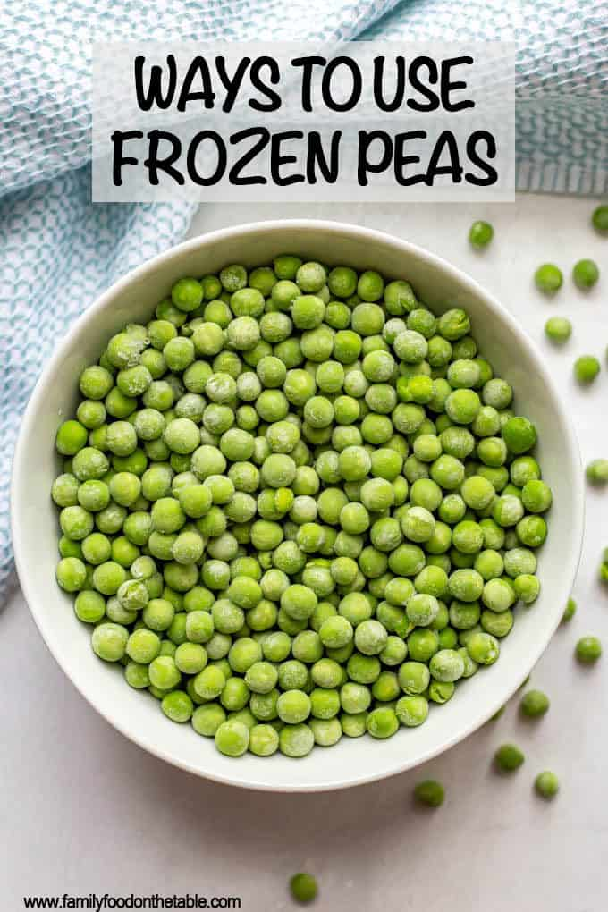 Frozen peas are an easy, delicious and versatile veggie to keep on hand. Check out these ideas and recipes for ways to use them. #peas #frozenveggies #frozenfood
