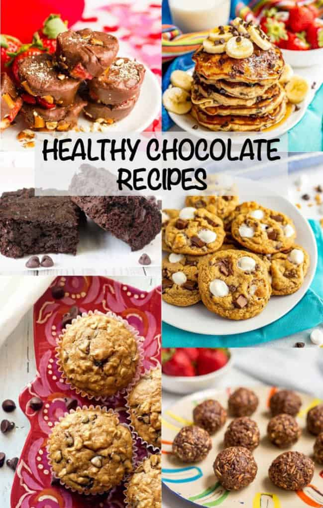 Healthy chocolate recipes includes breakfast, snack and dessert ideas that will fix a chocolate craving while being on the lighter side. Great for Valentine's Day or any time of year! #chocolate #chocolatelover #chocolaterecipes #desserts #sweets