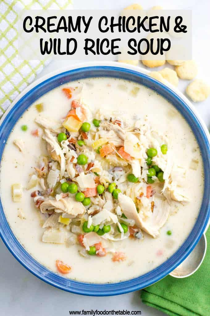 Healthy creamy chicken and wild rice soup is filled with veggies and deliciously creamy while still being very light. And it's ready in just 30 minutes! #soups #chickensoup #wildricesoup #healthysoups #wintersoups