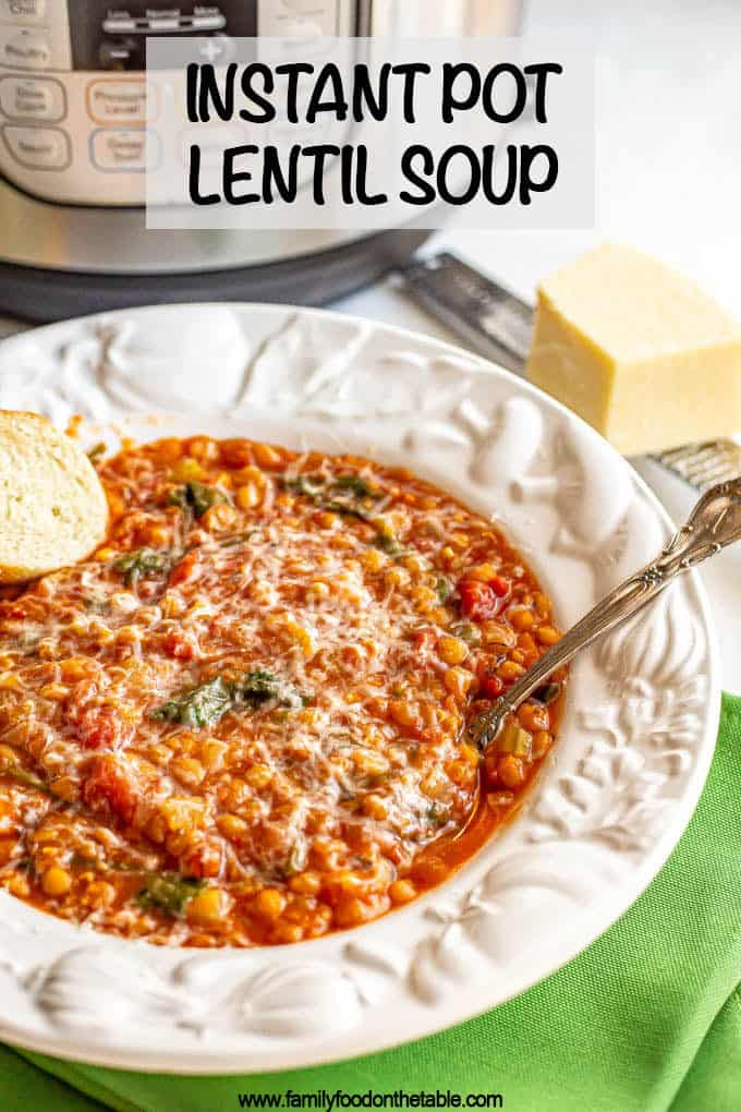 Instant Pot lentil soup is a really hearty, flavorful soup that is prepped and cooked entirely in the Instant Pot. This gluten-free, vegan lentil soup is perfect for an easy dinner on a chilly night. #lentils #lentilsoup #soups #instantpot