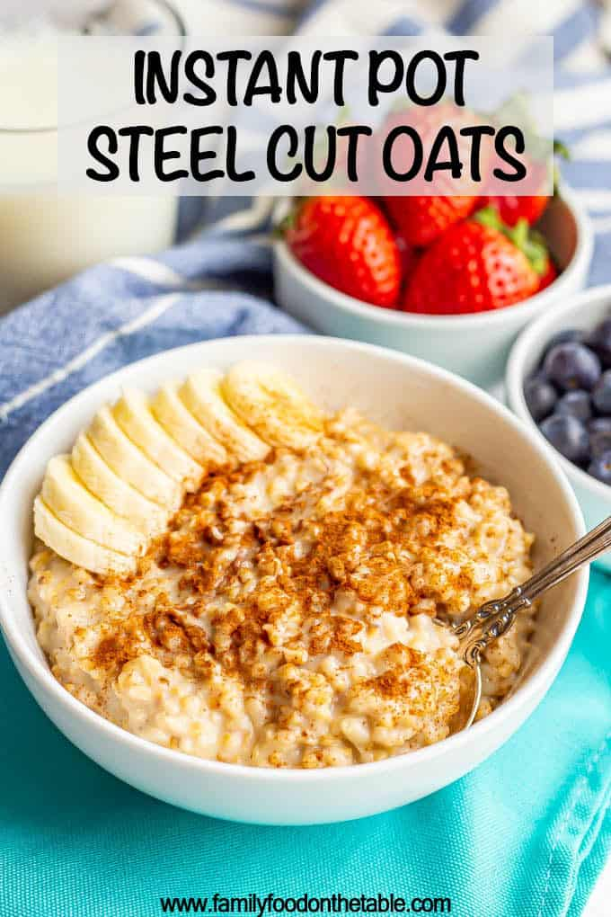 Instant Pot steel cut oatmeal is a really easy, hands-off way to cook steel cut oats. They come out perfectly tender and deliciously creamy every time! #instantpot #oatmeal #breakfast #glutenfree #veganbreakfast