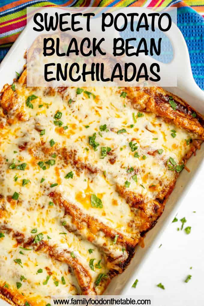 Sweet potato black bean enchiladas are seasoned to perfection and baked until bubbly for a delicious and hearty vegetarian meal. #enchiladas #vegetarian #vegetarianrecipes #meatlessMonday