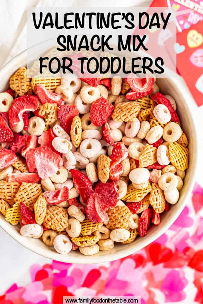 Toddler Valentine's Day snack mix is a fun mix for toddlers and preschoolers that's healthy but festive. And it takes just minutes to mix up and serve! #ValentinesDay #toddlers #toddlerfood #kidfood #kidsnacks