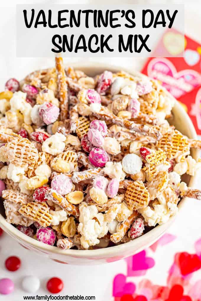 Valentine's Day snack mix, also called Cupid's crunch, is a fun and festive snack for February that's sweet and salty, crunchy and nutty. #ValentinesDay #snack #chexmix #snackmix #Cupidscrunch