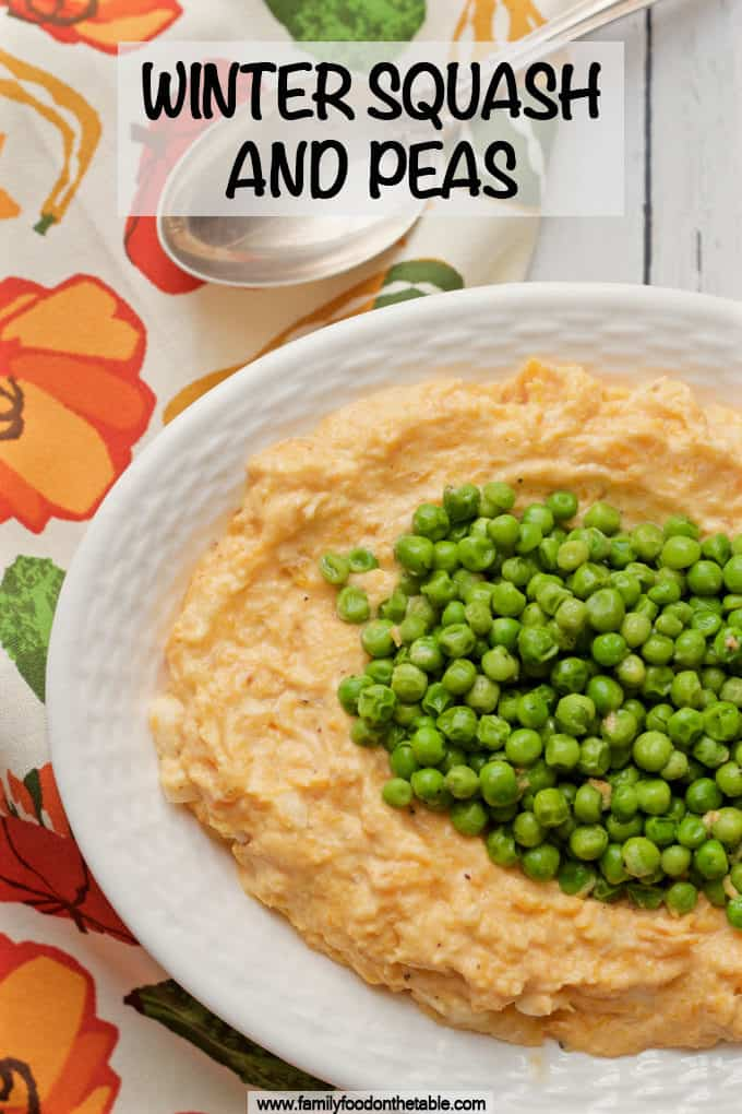 Winter squash and peas is a creamy mash of roasted butternut squash topped with buttery peas for a super flavorful combination! A great fall and winter veggie side dish! #butternutsquash #veggies #sidedish #healthyrecipes
