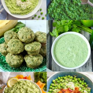 A collage of green food recipes