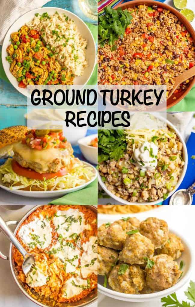 A photo collage of different dishes that feature ground turkey plus a text box