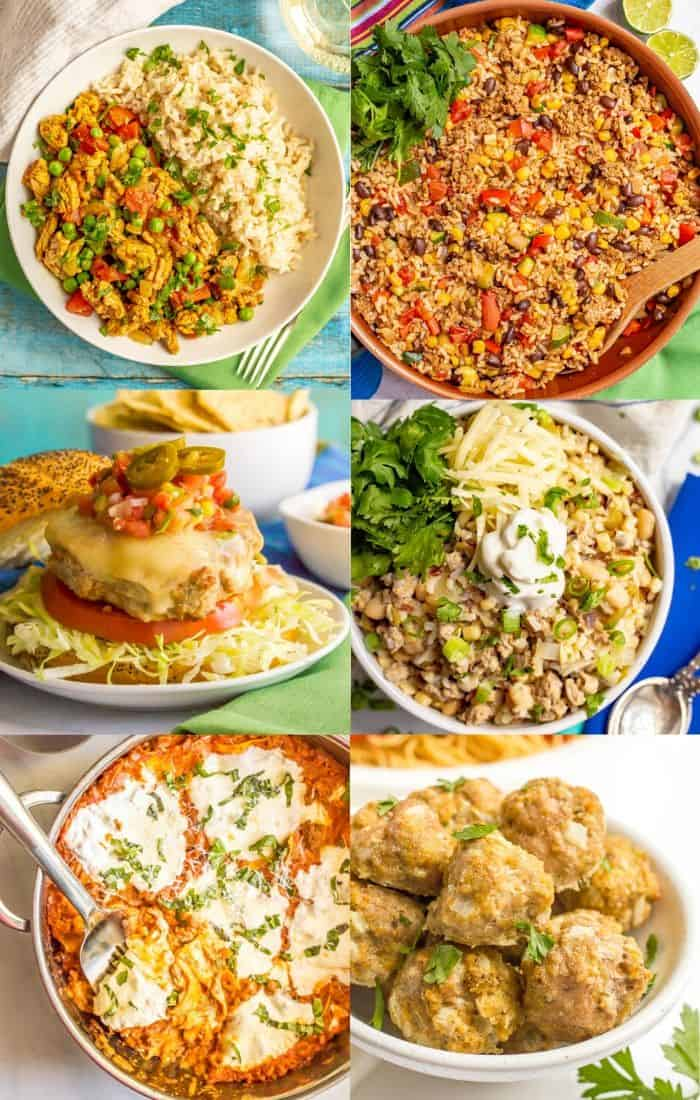 A photo collage of different dishes featuring ground turkey