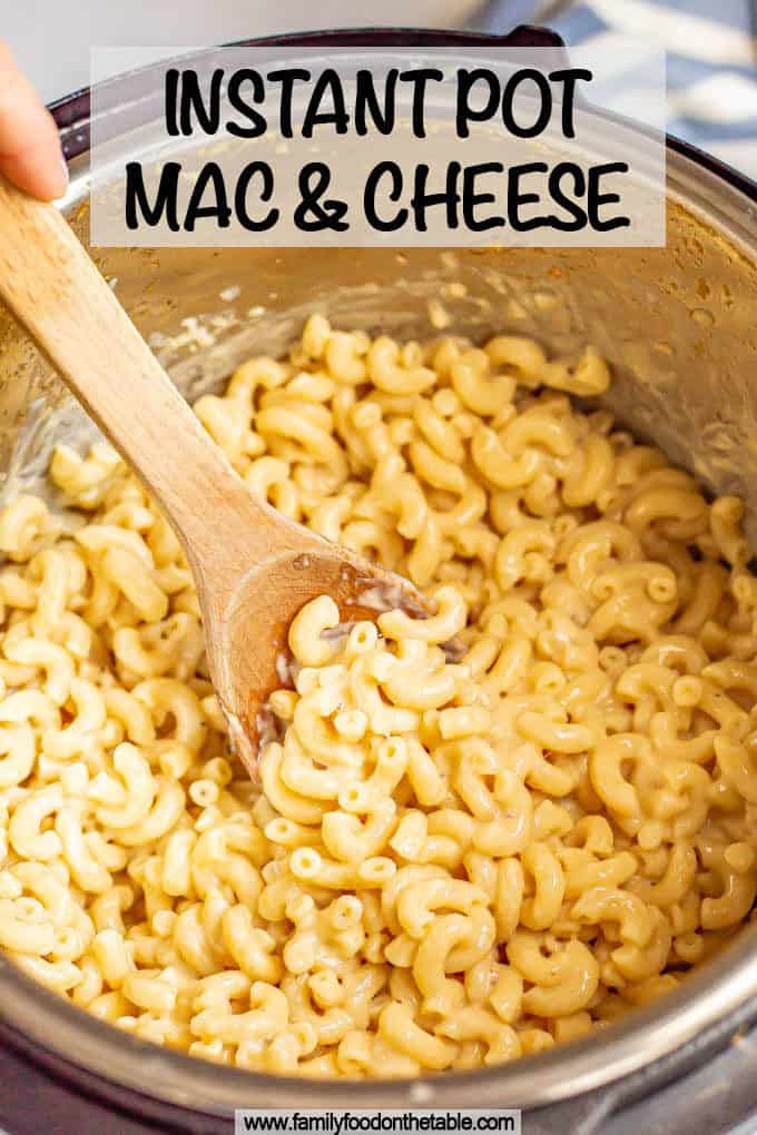 Macaroni and cheese cooked in an Instant Pot with a text box on top
