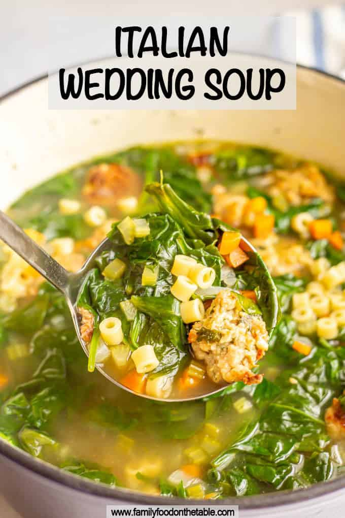 A serving of Italian wedding soup being served up with a text box at top