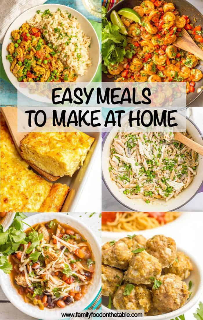 A collage of easy meals with on hand ingredients and a text box on top
