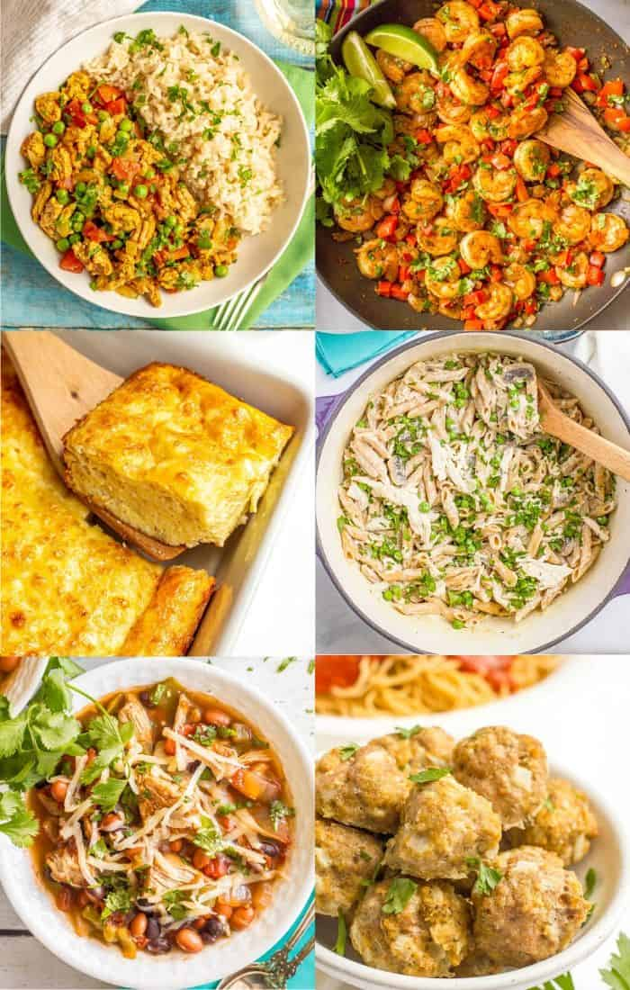 A collage of easy meals with on hand ingredients