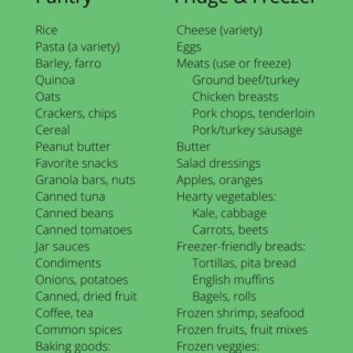 Food supplies stock-up list for pantry and fridge and freezer