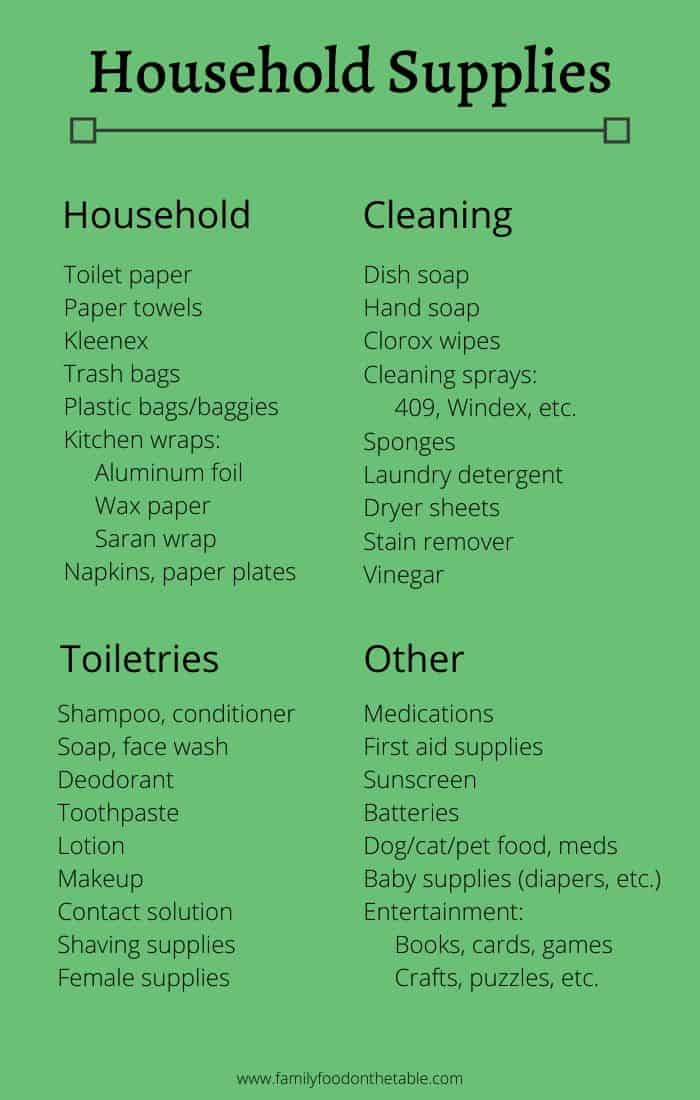 List of household and cleaning supplies to keep on hand