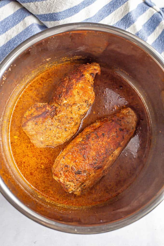 Pork tenderloin in a liquid bath in an Instant Pot