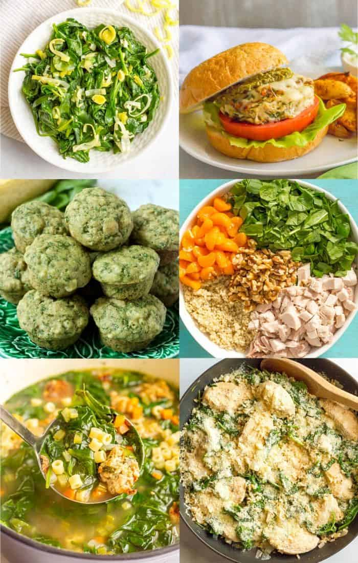 A collage of different foods that feature fresh spinach