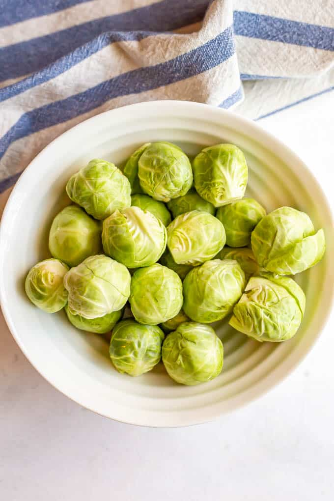 A bowl of cleaned and trimmed Brussels sprouts