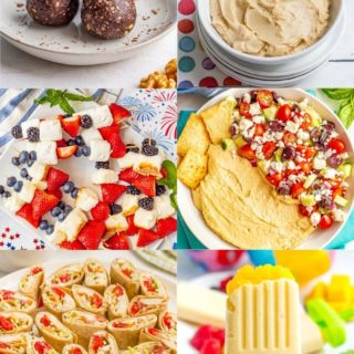 Collage of different snack and appetizer dishes