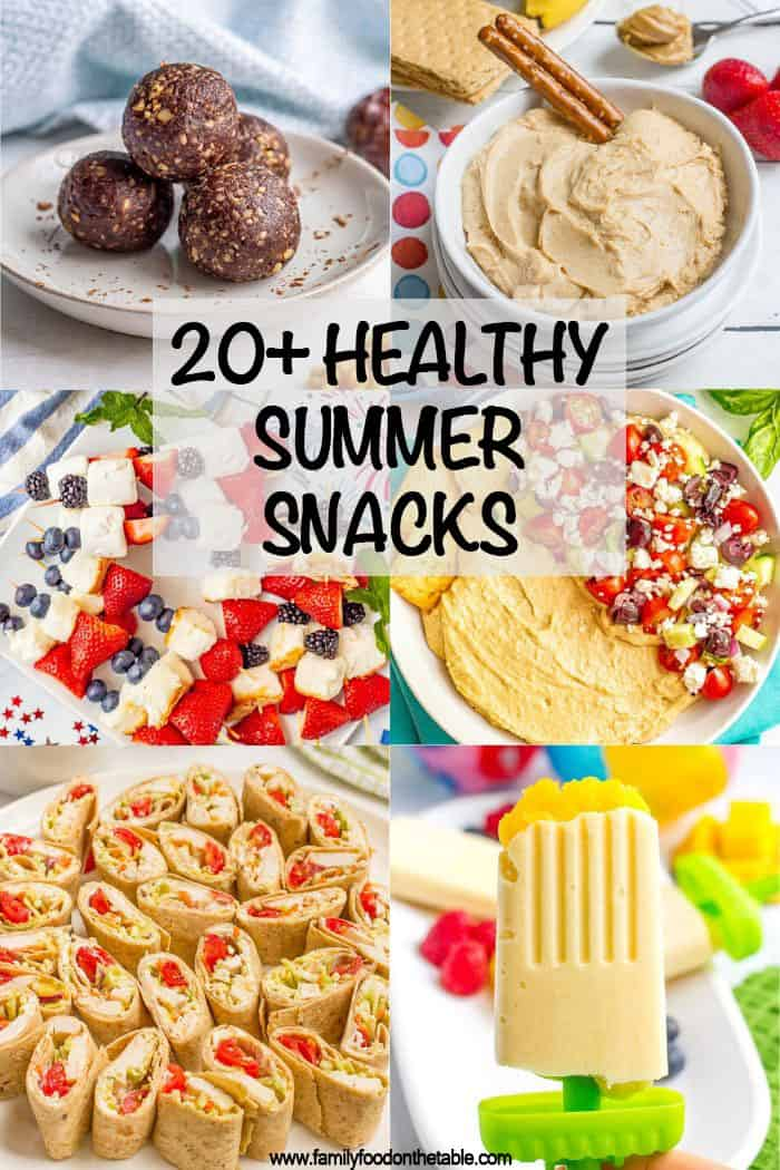 Collage of different healthy snack and appetizer dishes with a text box on top