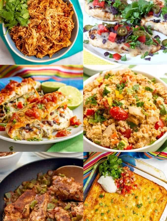 A photo collage of healthy recipes using salsa