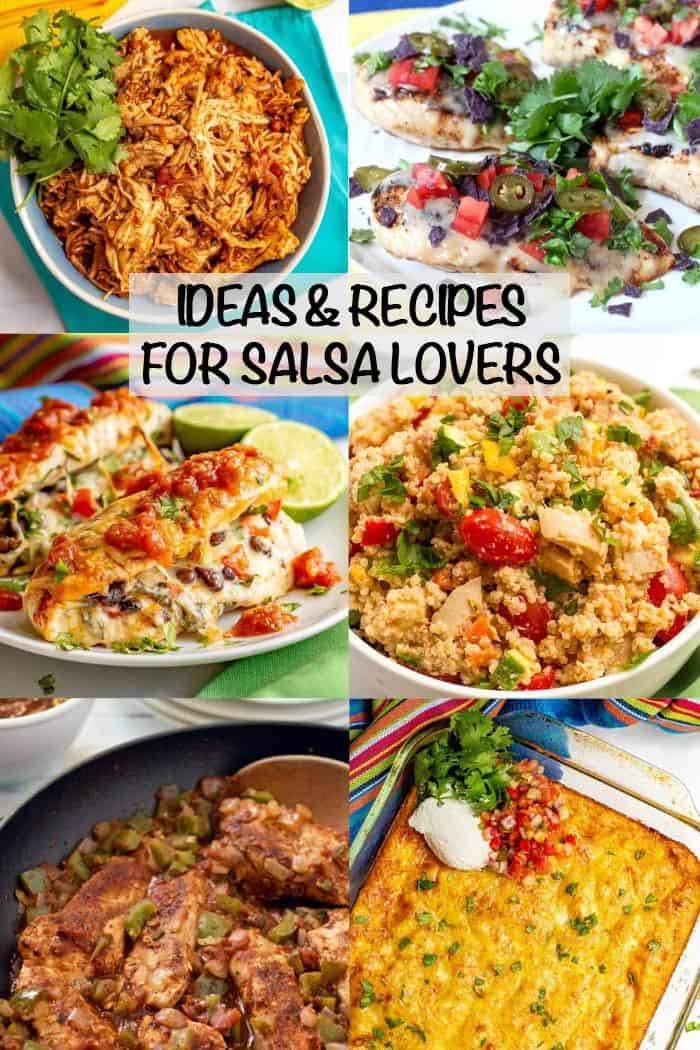 A collage of recipes using salsa with a text box on top