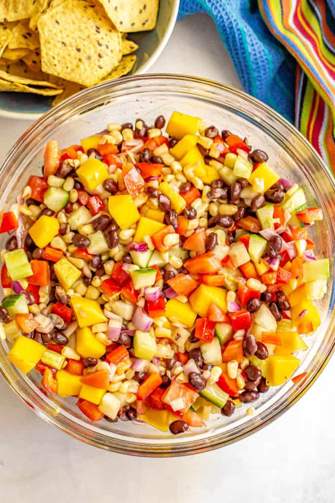 Black bean salad with mango, cucumber, corn, tomatoes and peppers