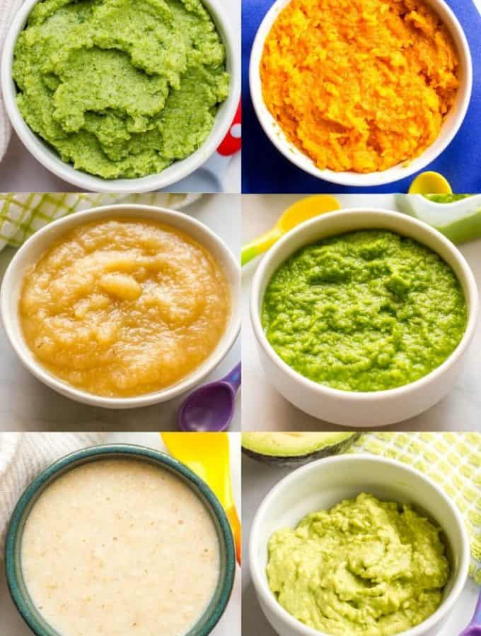 Collage of different bowls of first baby foods