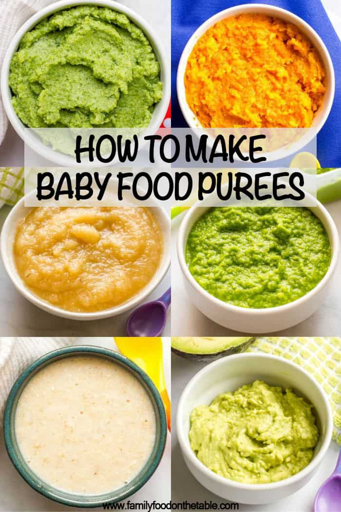 Collage of individual baby food purees with a text box on top