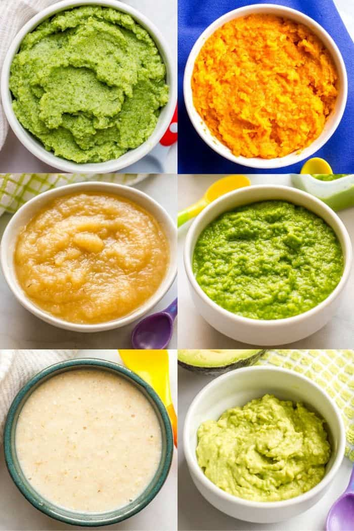 Collage of individual bowls of different first baby foods