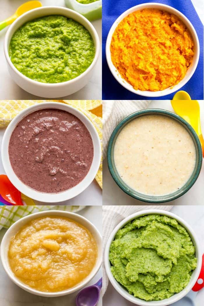 Different pureed baby foods in individual bowls arranged in a collage