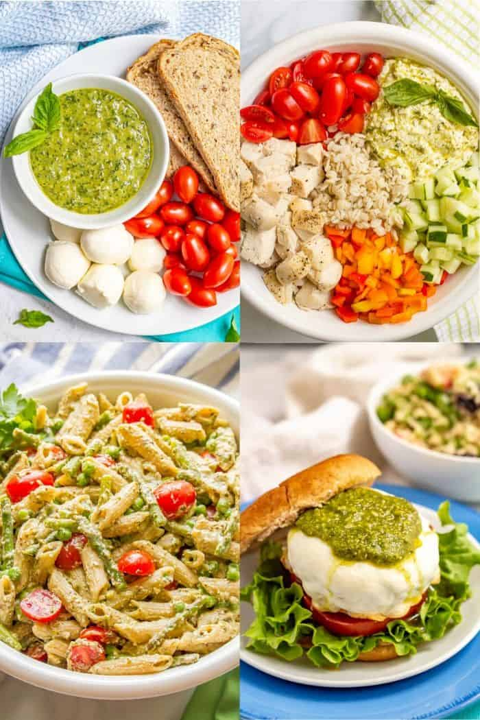 A collage of four photos that feature basil pesto