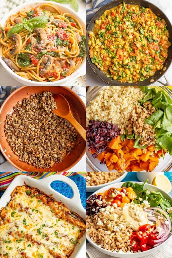 A collage of photos showing plant-based meals and substitutes for meat