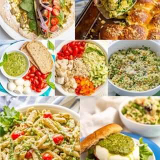 A collage of photos of different foods that all use pesto