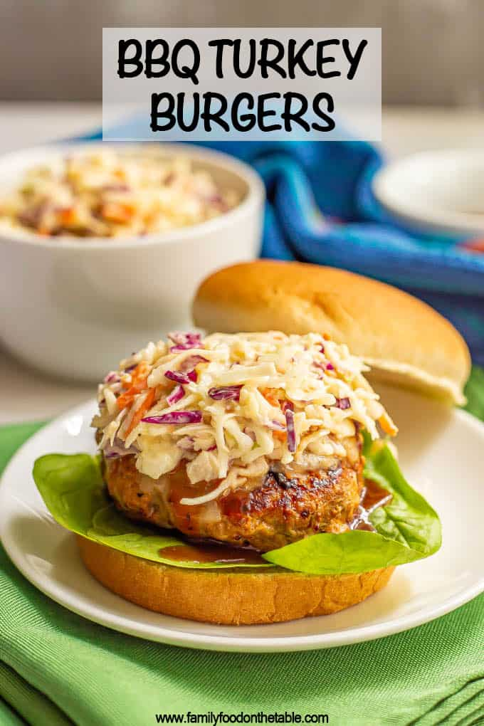 A juicy BBQ turkey burger on a bun with slaw and fixings