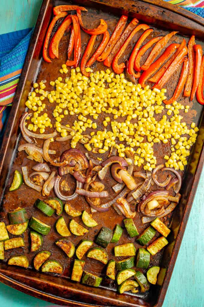 A baking sheet of roasted colorful veggies